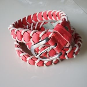 Braided salmon and cream colored belt, Size Large